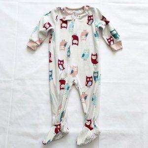 5/$25 Carter's fleece owl pajamas - 12m